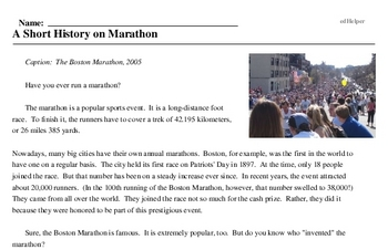 Print <i>A Short History on Marathon</i> reading comprehension.