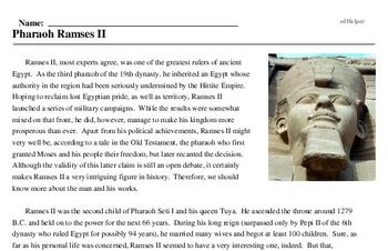 Print <i>Pharaoh Ramses II</i> reading comprehension.