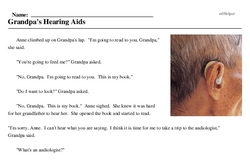 Print <i>Grandpa's Hearing Aids</i> reading comprehension.