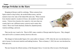 Print <i>Europe Switches to the Euro</i> reading comprehension.