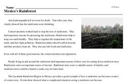 Print <i>Mexico's Rainforest</i> reading comprehension.