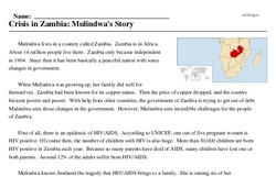 Print <i>Crisis in Zambia: Mulindwa's Story</i> reading comprehension.