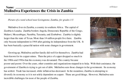 Print <i>Mulindwa Experiences the Crisis in Zambia</i> reading comprehension.