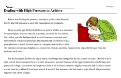 Print <i>Dealing with High Pressure to Achieve</i> reading comprehension.