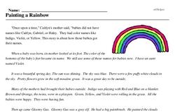 Print <i>Painting a Rainbow</i> reading comprehension.
