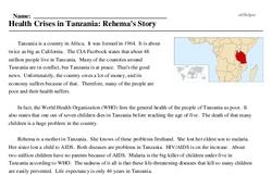 Print <i>Health Crises in Tanzania: Rehema's Story</i> reading comprehension.