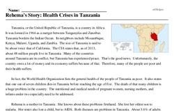Print <i>Rehema's Story: Health Crises in Tanzania</i> reading comprehension.