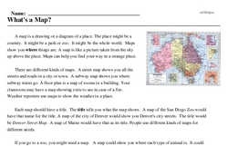Print <i>What's a Map?</i> reading comprehension.