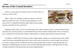 Print <i>Beware of the Coastal Invaders!</i> reading comprehension.