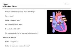 Print <i>A Broken Heart</i> reading comprehension.