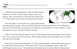 Print <i>Asia</i> reading comprehension.