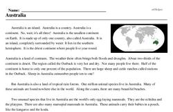 Print <i>Australia</i> reading comprehension.
