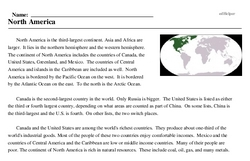 Print <i>North America</i> reading comprehension.