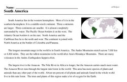 Print <i>South America</i> reading comprehension.