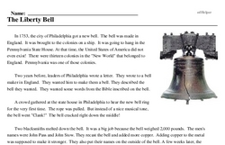 Print <i>The Liberty Bell</i> reading comprehension.