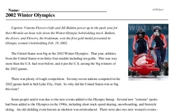 Print <i>2002 Winter Olympics</i> reading comprehension.