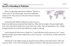Print <i>Javed's Schooling in Pakistan</i> reading comprehension.