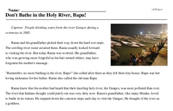 Print <i>Don't Bathe in the Holy River, Bapu!</i> reading comprehension.