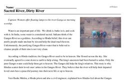 Print <i>Sacred River, Dirty River</i> reading comprehension.