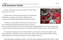 Print <i>Train Bombing in Madrid</i> reading comprehension.