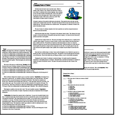 Changing States Of Matter Worksheets Teachers Pay Teachers