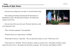 Print <i>Fourth of July Sister</i> reading comprehension.