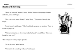 Print <i>Backyard Bowling</i> reading comprehension.