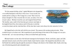 Print <i>The Cottage</i> reading comprehension.