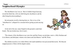 Print <i>Neighborhood Olympics</i> reading comprehension.