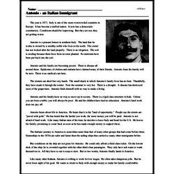 Print <i>Antonio - an Italian Immigrant</i> reading comprehension.