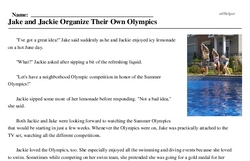 Print <i>Jake and Jackie Organize Their Own Olympics</i> reading comprehension.