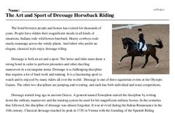 Print <i>The Art and Sport of Dressage Horseback Riding</i> reading comprehension.
