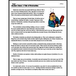 Print <i>Alcohol Abuse: A Tale of Destruction</i> reading comprehension.