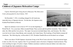 Print <i>Children of Japanese Relocation Camps</i> reading comprehension.