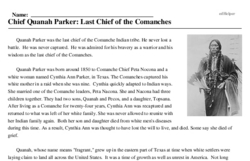 Print <i>Chief Quanah Parker: Last Chief of the Comanches</i> reading comprehension.