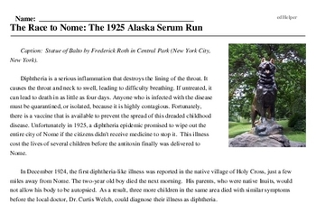Print <i>The Race to Nome: The 1925 Alaska Serum Run</i> reading comprehension.