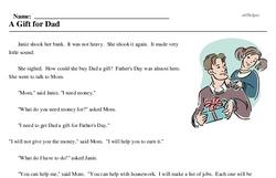 Print <i>A Gift for Dad</i> reading comprehension.