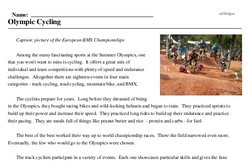 Print <i>Olympic Cycling</i> reading comprehension.