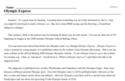 Print <i>Olympic Express</i> reading comprehension.