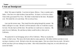 Print <i>I Am an Immigrant</i> reading comprehension.