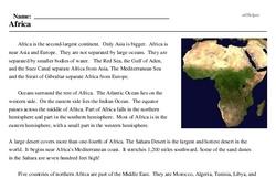 Print <i>Africa</i> reading comprehension.