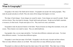 Print <i>What Is Geography?</i> reading comprehension.
