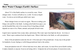 Print <i>How Water Changes Earth's Surface</i> reading comprehension.