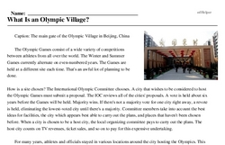 Print <i>What Is an Olympic Village?</i> reading comprehension.