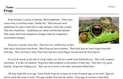 Print <i>Frogs</i> reading comprehension.