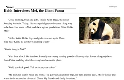 Print <i>Keith Interviews Mei, the Giant Panda</i> reading comprehension.