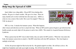 Print <i>Help Stop the Spread of AIDS</i> reading comprehension.