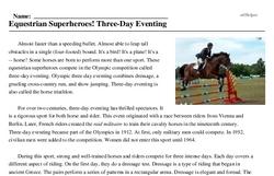 Print <i>Equestrian Superheroes! Three-Day Eventing</i> reading comprehension.