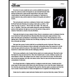 Print <i>Taekwondo</i> reading comprehension.