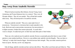 Print <i>Stay Away from Anabolic Steroids</i> reading comprehension.